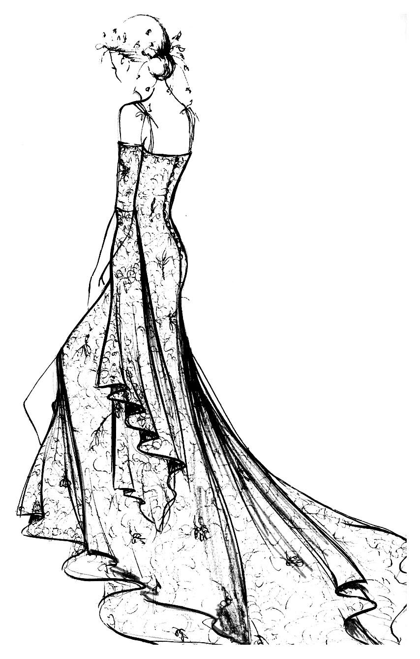 Free coloring page coloring-adult-robe-dentelle-chantilly