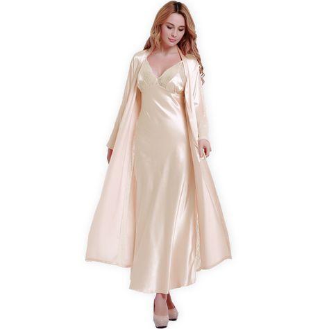 bc56aab3f80bce0 Новые модные Шелковые Халаты + Ночные Сорочки Женские Сексуальные Чулок  Шелковой Атласной Кружева Пижамы Халат Наборы Халат Loungewear 5 Цветов