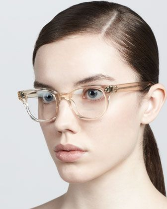 9edbef4a985 Oliver Peoples Afton Clear Fashion Glasses in Buff From BergdorfGoodman.com
