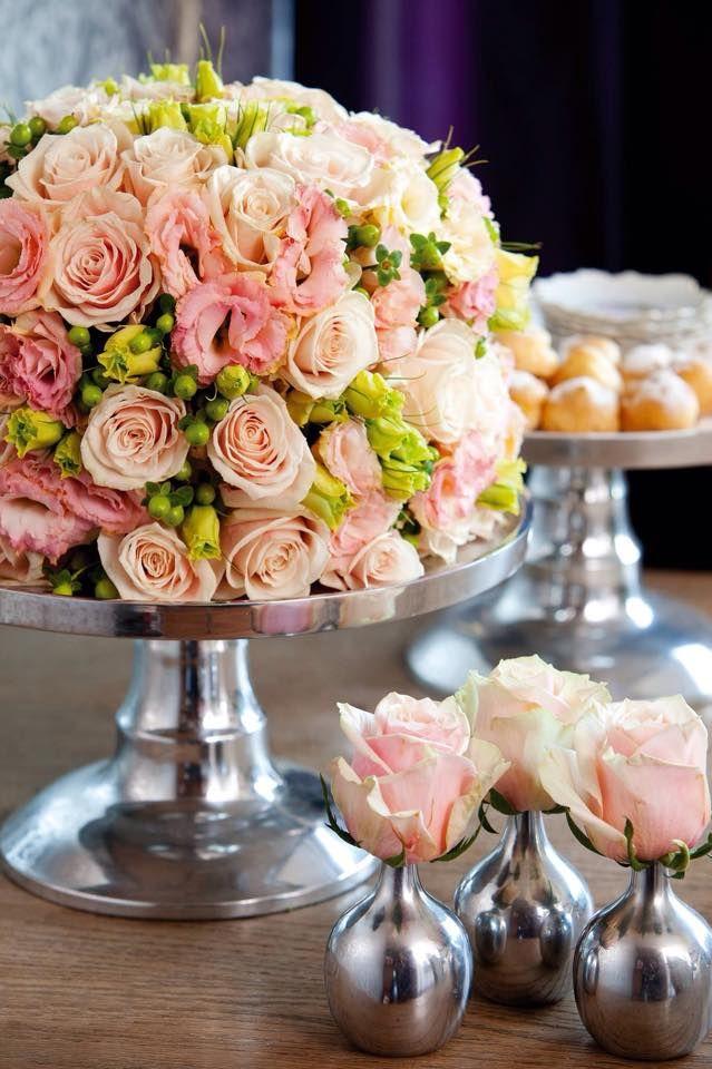 Floral Arrangement ~ cake shape, single buds in individual holders...