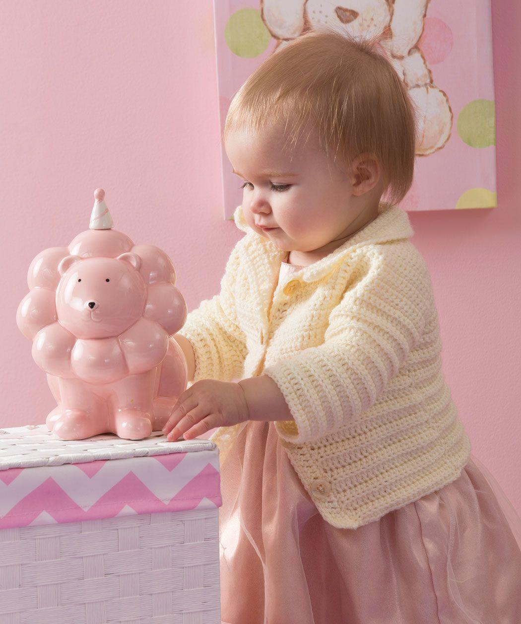 Häkle eine einfache Jacke für jeden Tag für dein Baby. Das Unisex-Design ist perfekt für Mädchen und Jungs.