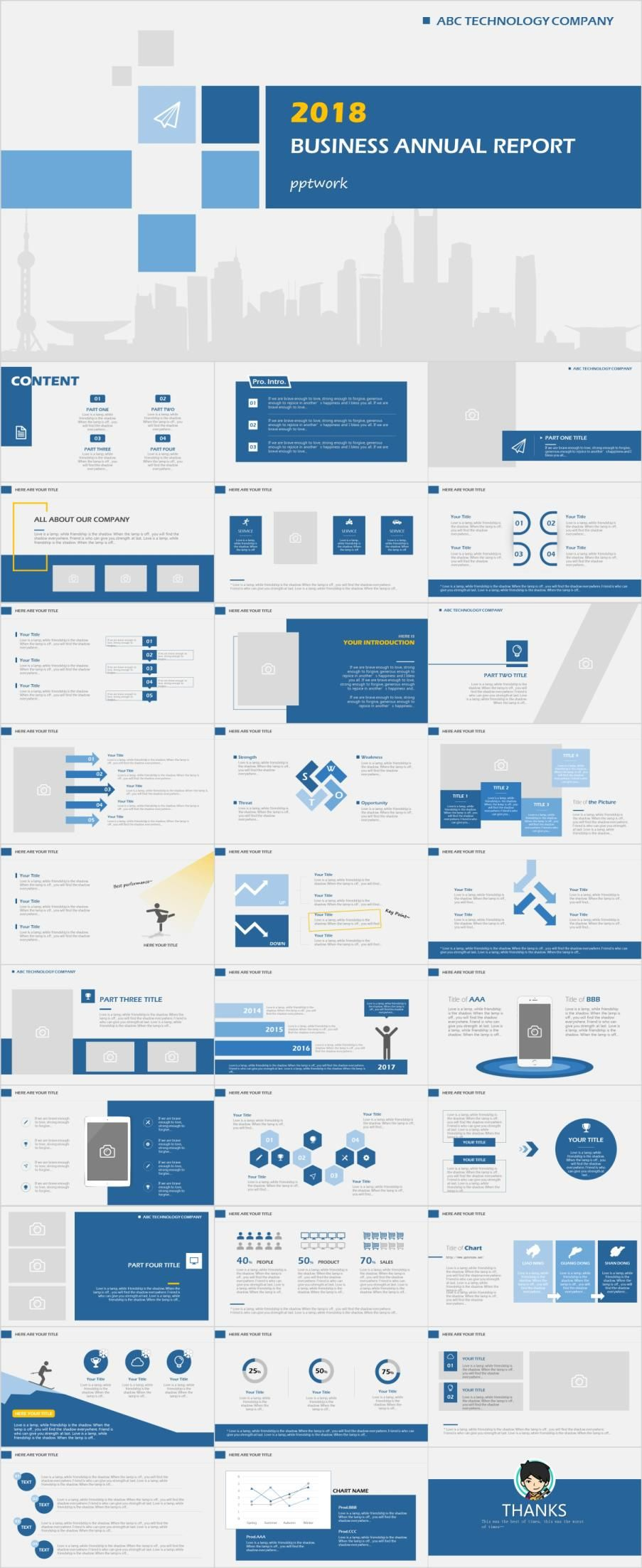 31 blue company annual report powerpoint template パワーポイント