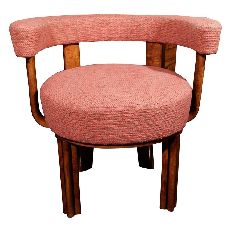 Burl wood and Upholstered Chair by Lehr and Leubert, German 1933