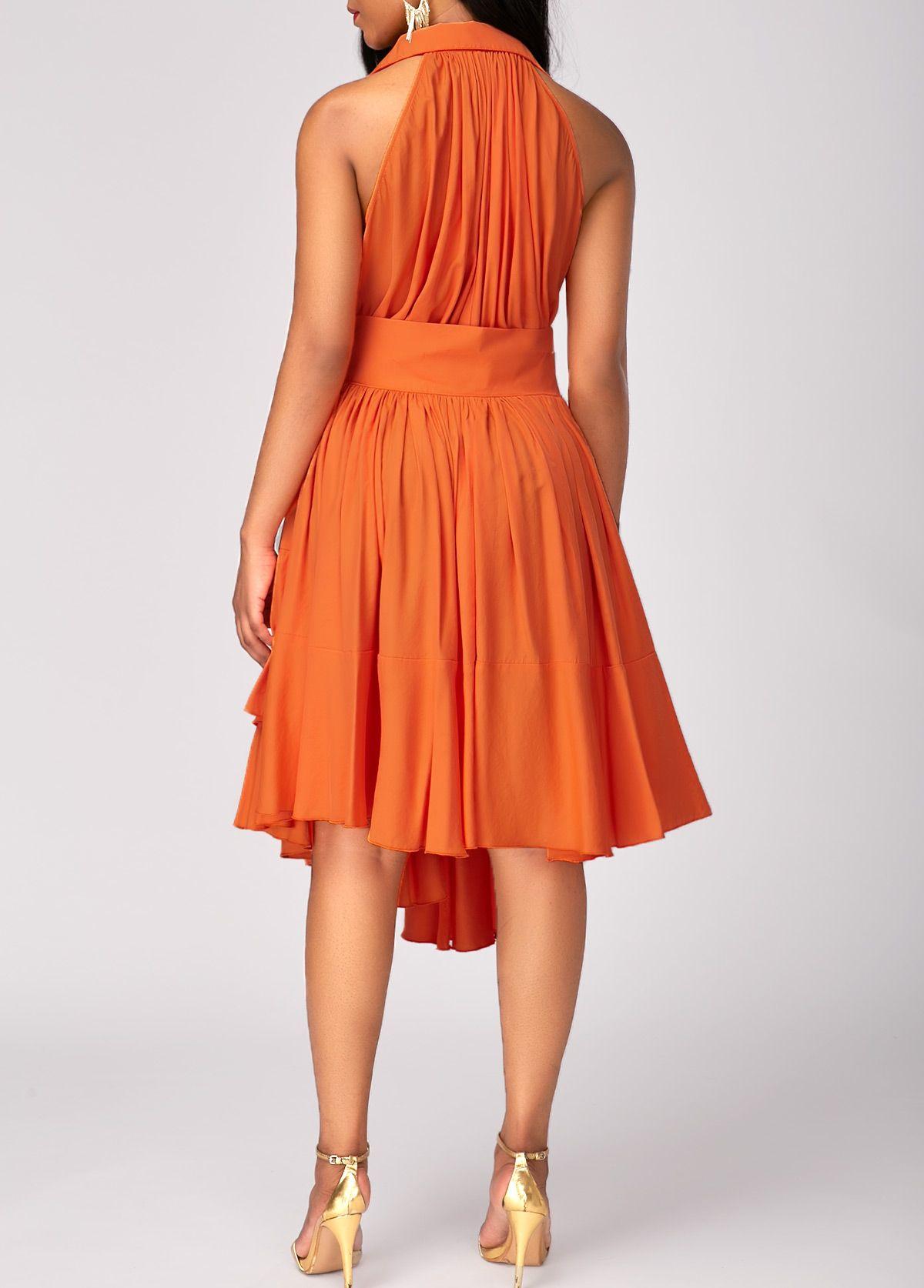 Asymmetric Hem High Waist Layered Orange Dress Rotita Com Usd 30 58 Orange Dress Stunning Dresses Dresses [ 1674 x 1200 Pixel ]