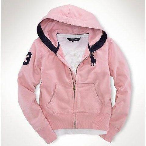 Ralph Lauren Fleece Big Pony Zip Hoodie Pink