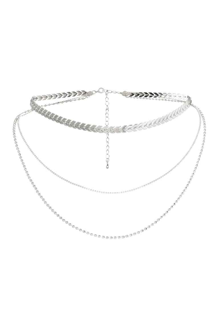 Three Strand Necklace Silver Ladies Hm The Look