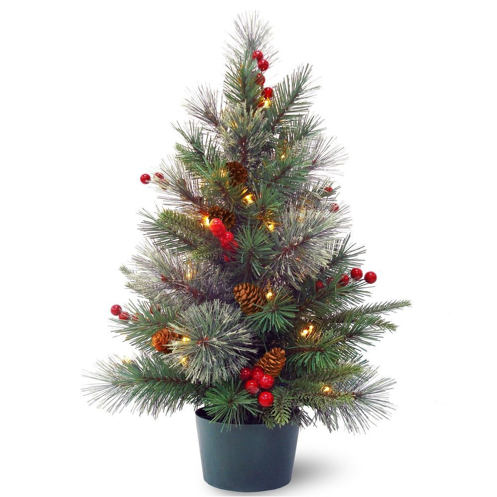2' Potted Christmas Tree with 35 Warm White LED Lights