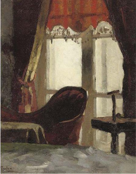 Willem Bastiaan Tholen - Interieur met papegaaiestandaard