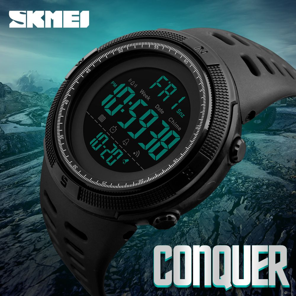 Lovely Skmei Chronograph Men Stopwatch Sports Compass Watches Hiking Men Watch Digital Led Electronic Silicone Watch Man Sports Watches Watches