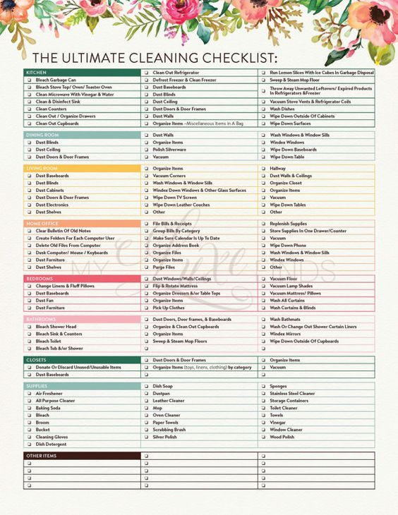 apartment cleaning checklist templates
