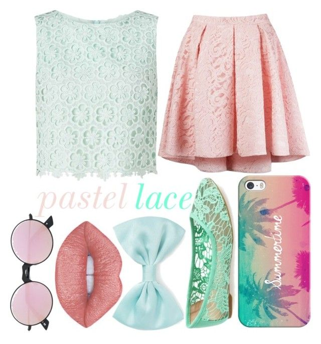 """""""Pastel Lace"""" by kaitlyn-ashby101 ❤ liked on Polyvore featuring Miss Selfridge, Martha Medeiros, Lucky Brand, Casetify, Forever 21 and Le Specs"""