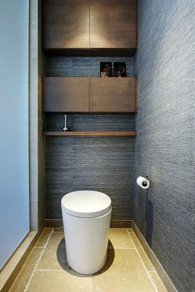 Wygodna czysta łazienka, szara łazienka, półki w łazience, design łazienki ...