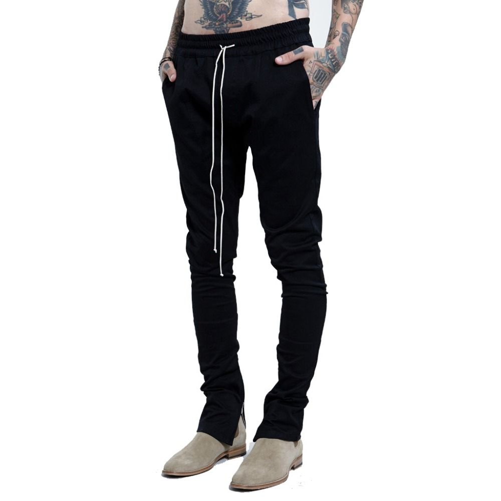 New fashion skinny mens joggers justin bieber ankle zipper pants ...