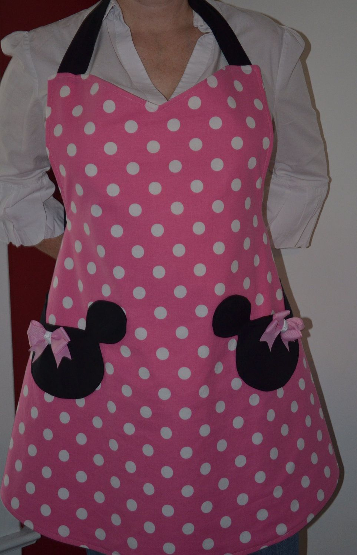 Minnie Mouse Apron, Womens Apron, Full Apron, Reversible Apron ...