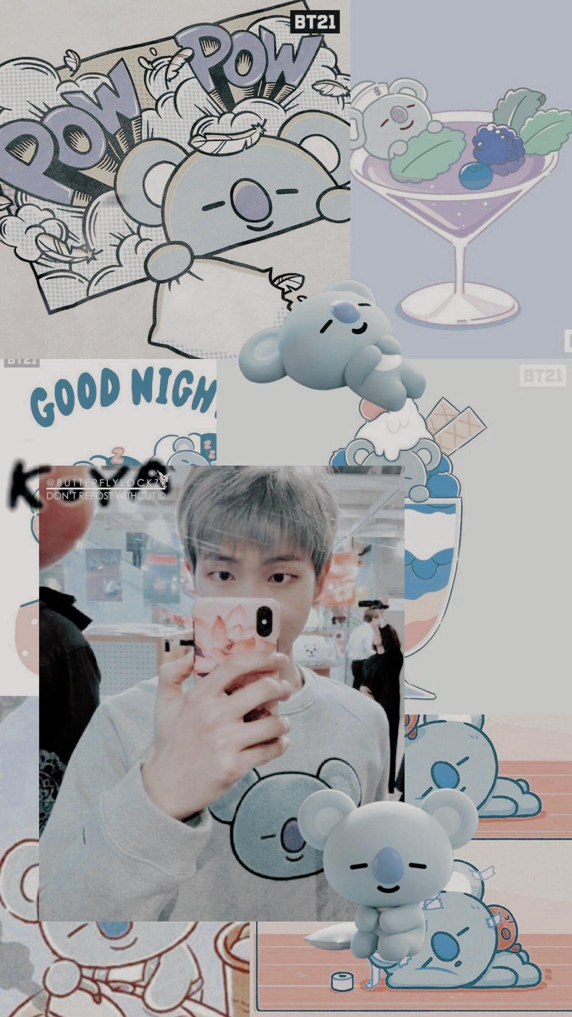 Namjoon Feat Koya Wallpaper Credits To Twitter Butterflylockz C Namjoon Rm Koya Bt21 Ilustrasi Komik Kartu Lucu Wallpaper Lucu