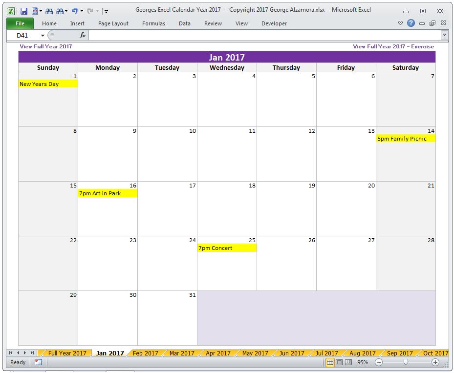2017 excel calendar template