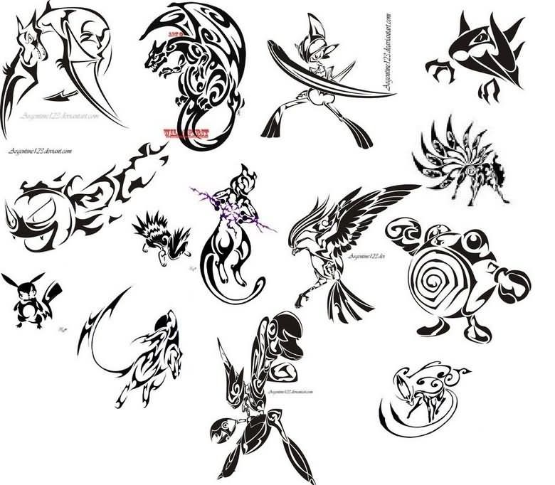 Black Tribal Legendary Pokemon Tattoo Flash Pokemon Tattoo Tribal Pokemon Pokemon