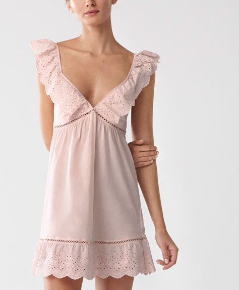 Oysho - Cut work strappy nightdress