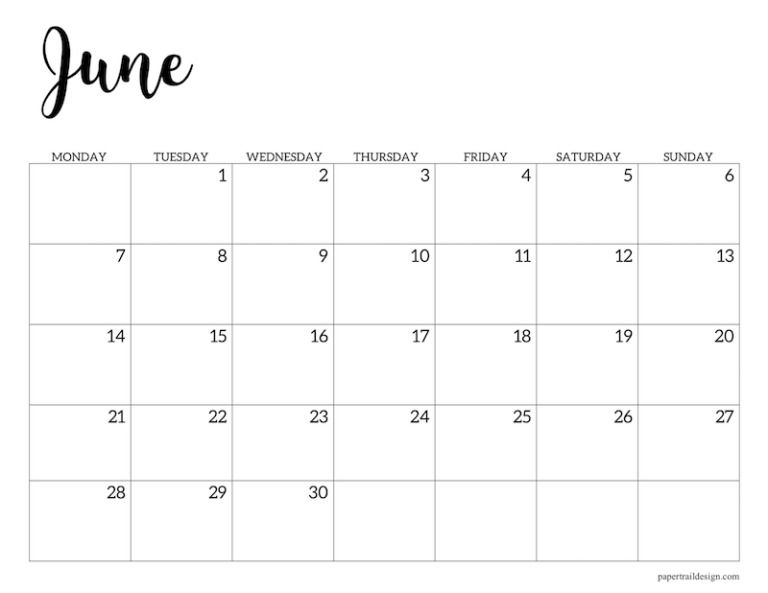 Free Printable 2021 Calendar Monday Start Paper Trail Design In 2020 Calendar Printables Print Calendar Monthly Calendar Printable