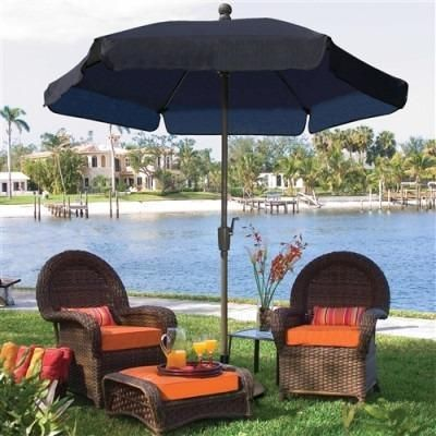 Buy 7.5 Ft Patio Umbrella For Outdoor Garden W/ Tilt Navy Shade U0026 Champagne  Pole  Free Shipping At OliveTree Home For Only $249.95 | Patio Umbrellas  And ...