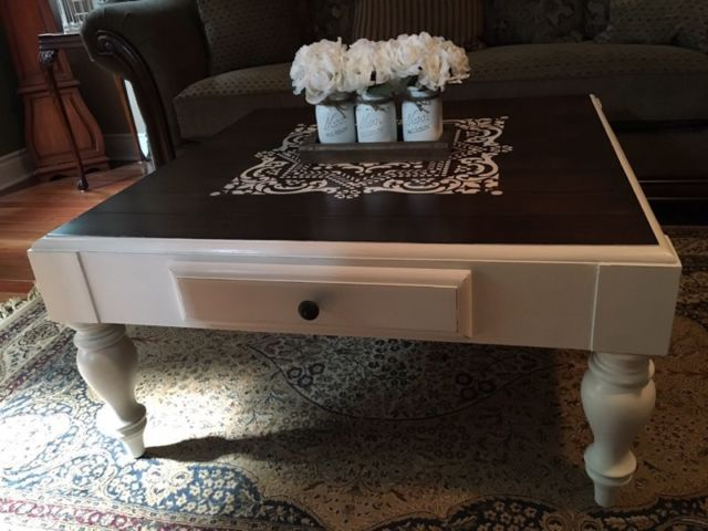 beautifully refinished sklar peppler wood coffee table painted in