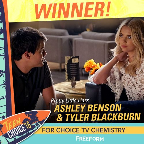 #Haleb's chemistry is on ! Congratulations to Ashley Benson & Tyler Blackburn for winning #TeenChoice TV Chemistry! We love you both!  | Pretty Little Liars