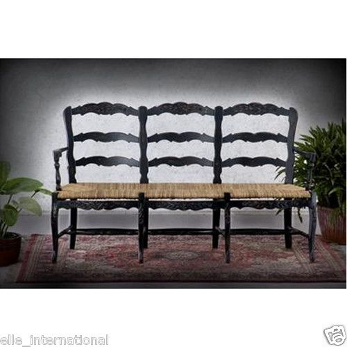 Black French Country 3 Seat Bench Distressed Finish Over