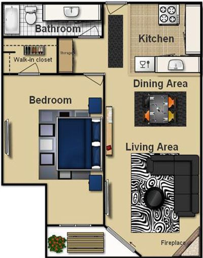 Pin By Eva Soares On HouseDecor Pinterest Apartment Floor - One 1 bedroom floor plans and houses