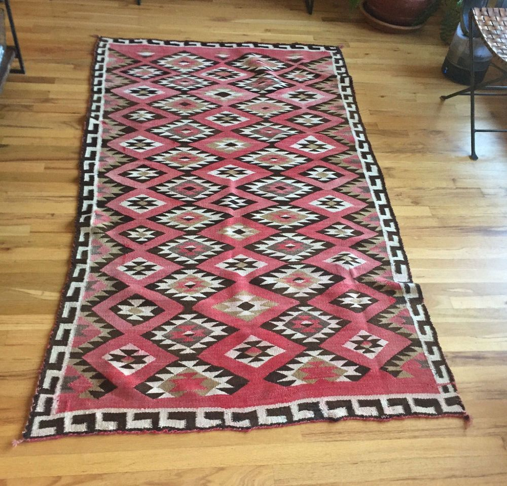 Vintage Large Authentic Navajo Rug Circa Early 1900 S