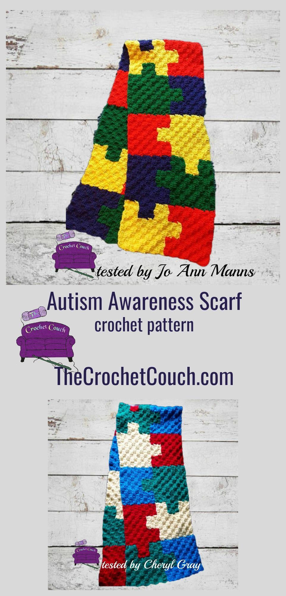 Autism Awareness Scarf - Puzzle Scarf C2C Crochet Pattern