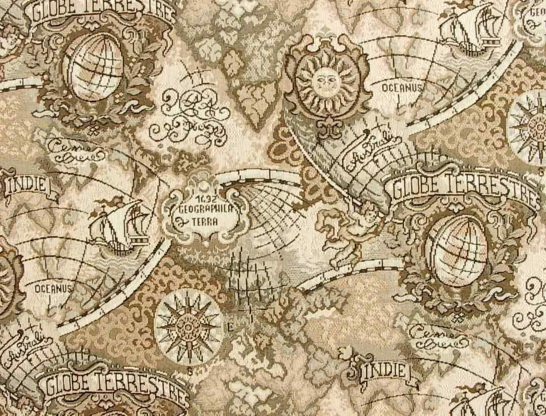 Ancient Mariner Fabric Swatch With Old World Navigation
