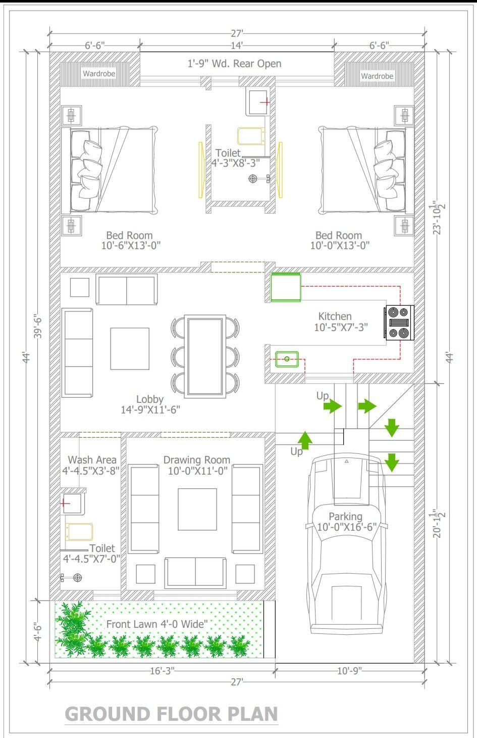 Yameen Khan Ji Plot 27x44 2bhk Rent Home Planning Each Floor My House Plans 2bhk House Plan Model House Plan