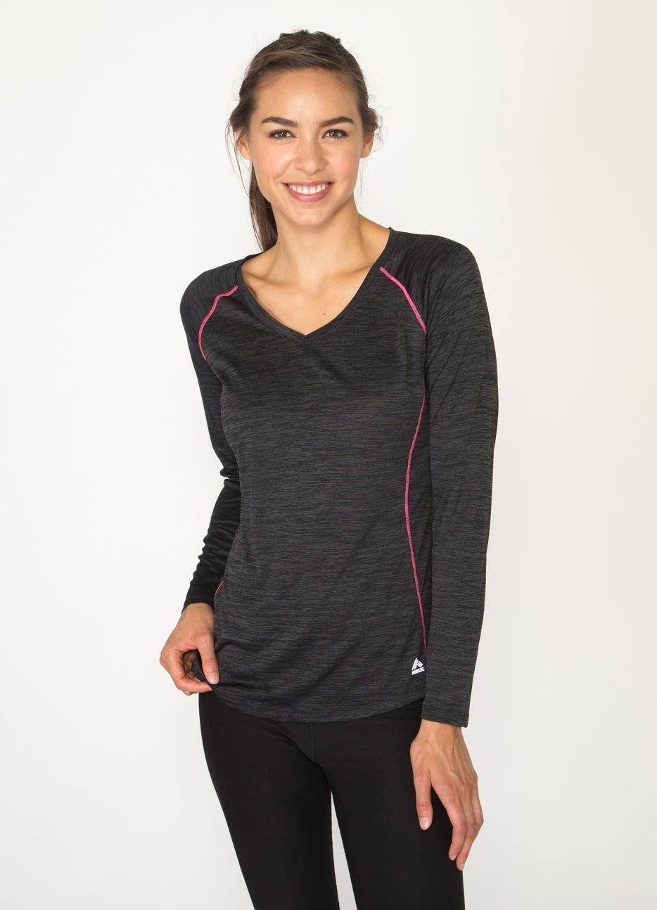 Long Sleeve Space Dye V-Neck Running Shirt