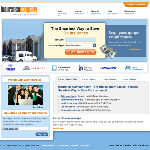 Insurance Lead Generation Site Design Home Internal Page