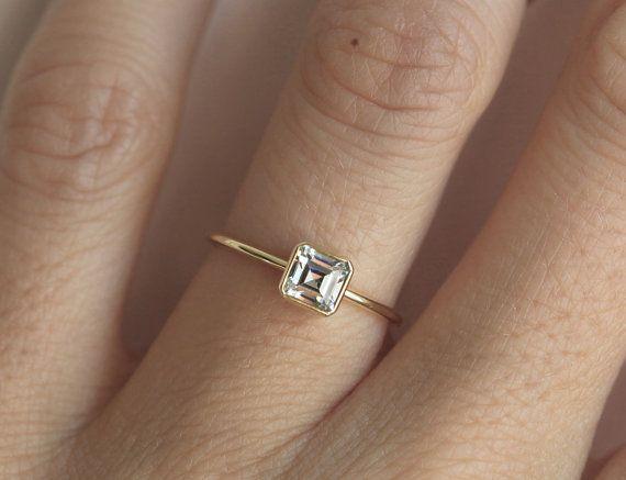 Round Diamond Ring, Round Cut Diamond Ring in Bezel Setting, Simple Round Diamond Engagement Ring