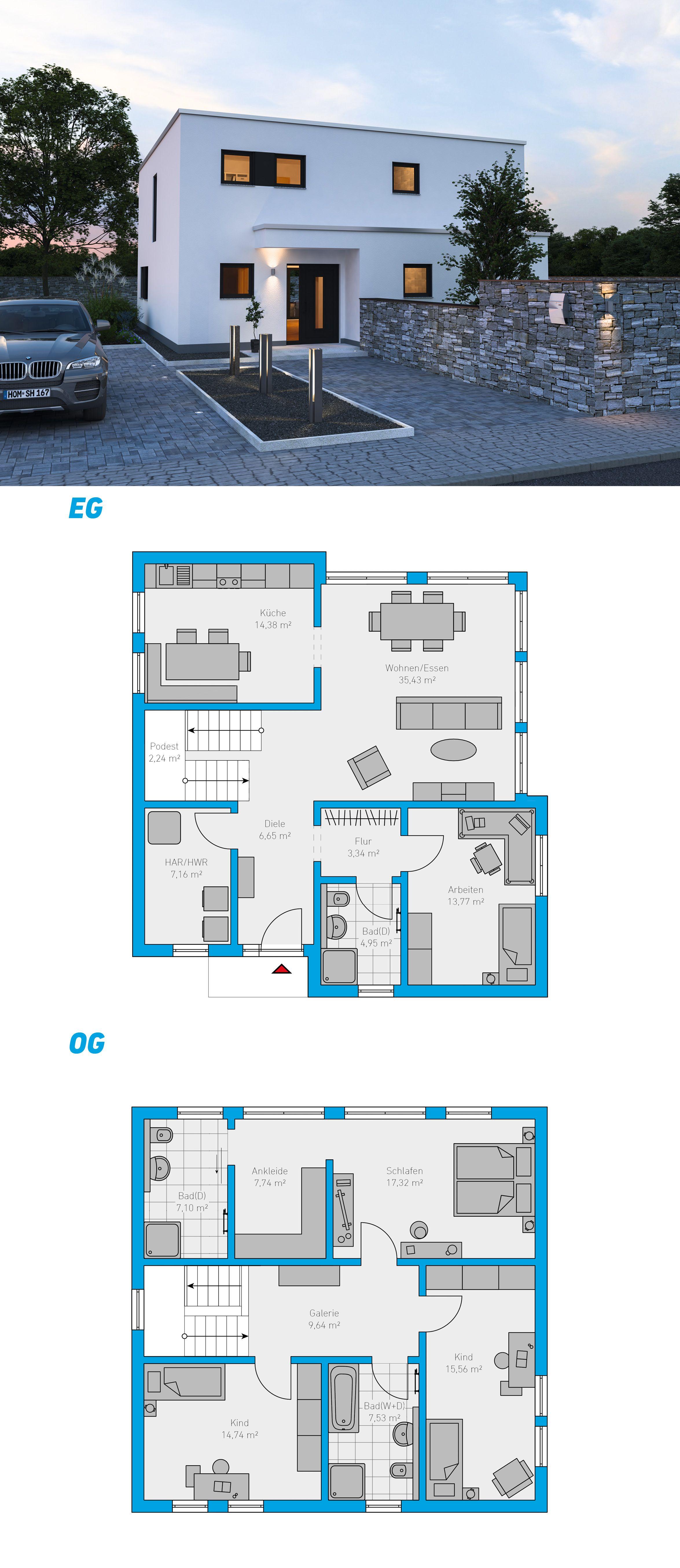 Alea 168 Schlusselfertiges Massivhaus 2 Geschossig Spektralhaus Ingutenwanden 2geschossig Grundriss Haus Architektur Hausbau Grundriss Architektur Haus