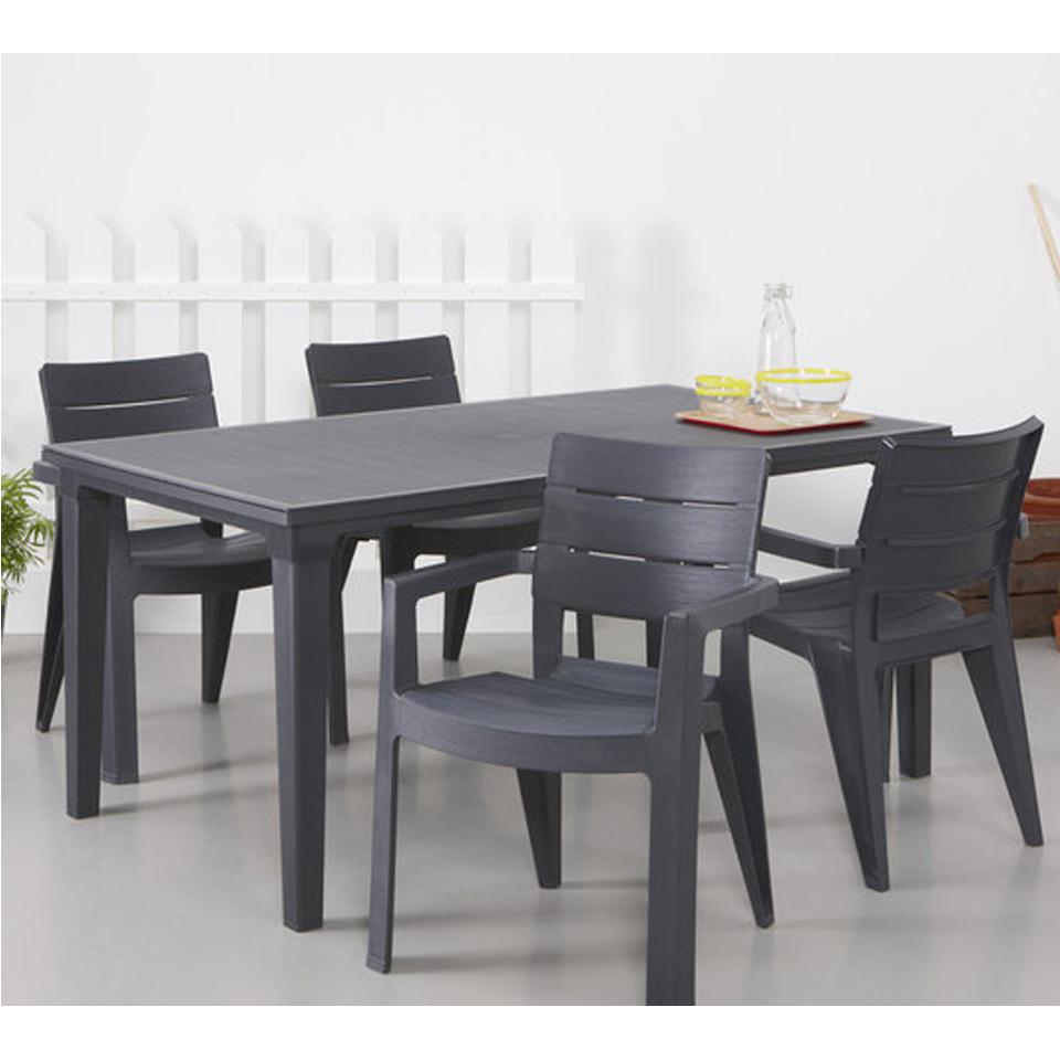 Pair Of Allibert Ibiza Graphite Grey Dining Garden Chairs