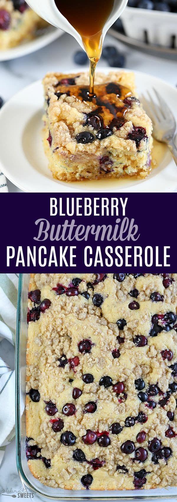 Blueberry Buttermilk Pancake Casserole - Celebrating Sweets