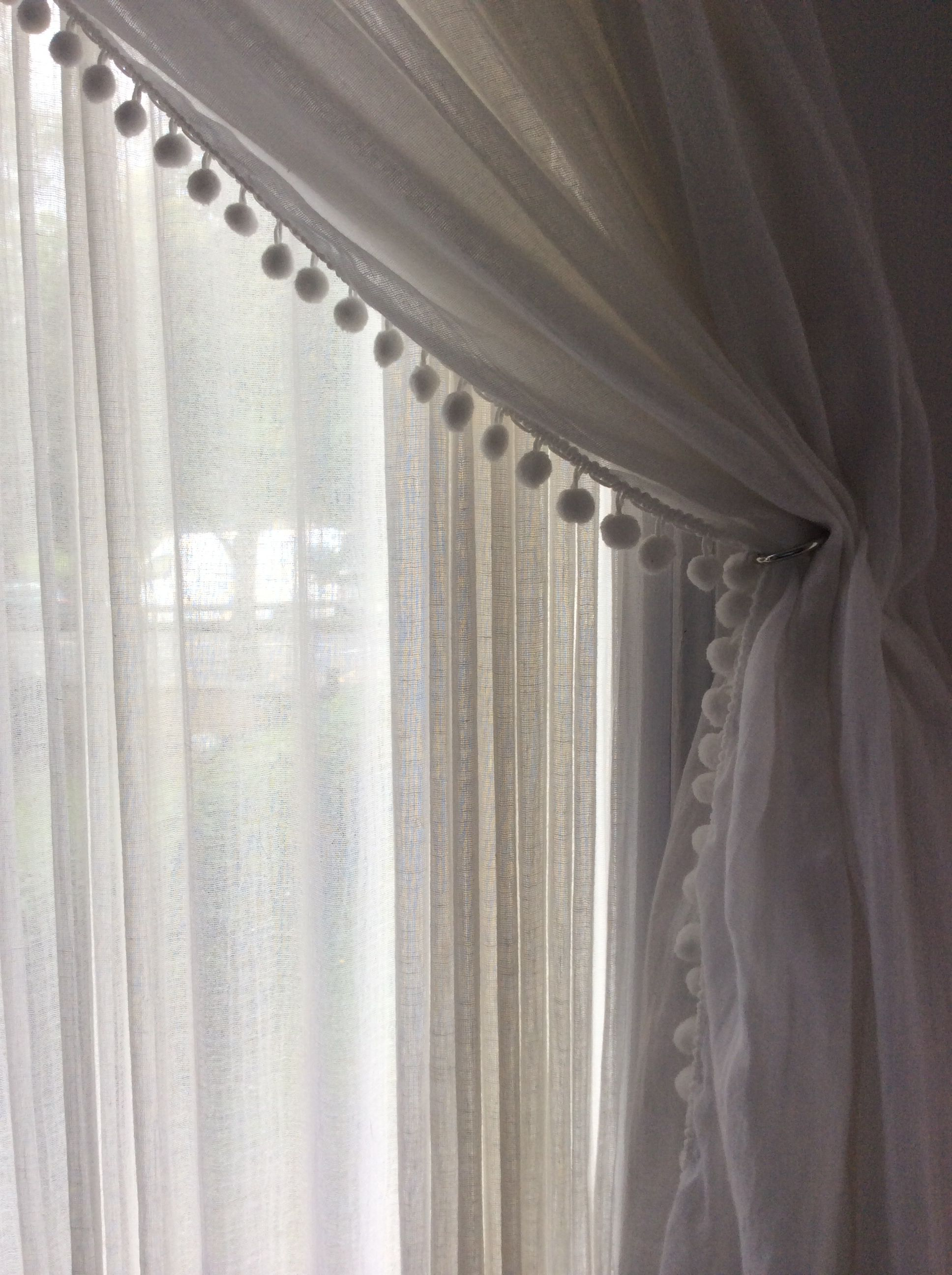 Muslin Curtain With Pom Pom Edge Curtain Decor Curtains Living