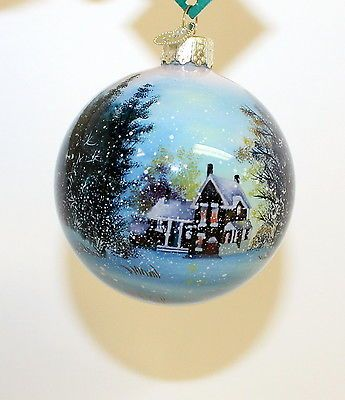 Glass 3 Ball Ornament Winter Wonderland Hand Painted Li Bien ...
