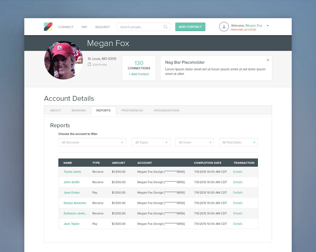 Personal reports tab for a responsive online payment for Table design ux