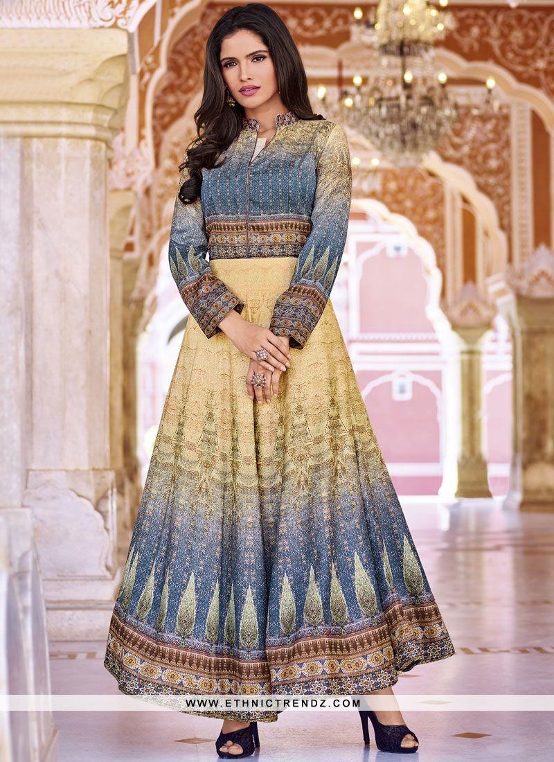 be2fd1eebe Party Wear Kurti Print Art Silk in Multi Colour | Kurti collection ...