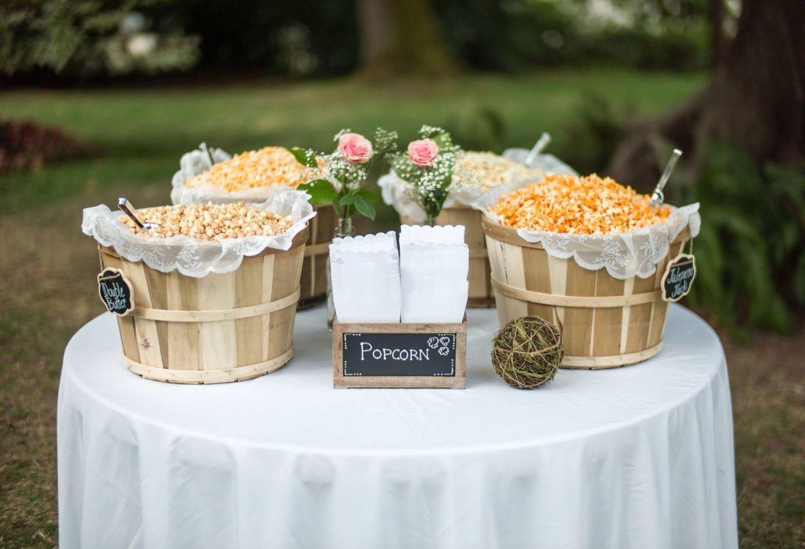 Popcorn In Bushel Baskets Cute Snack Idea For A Rustic Wedding