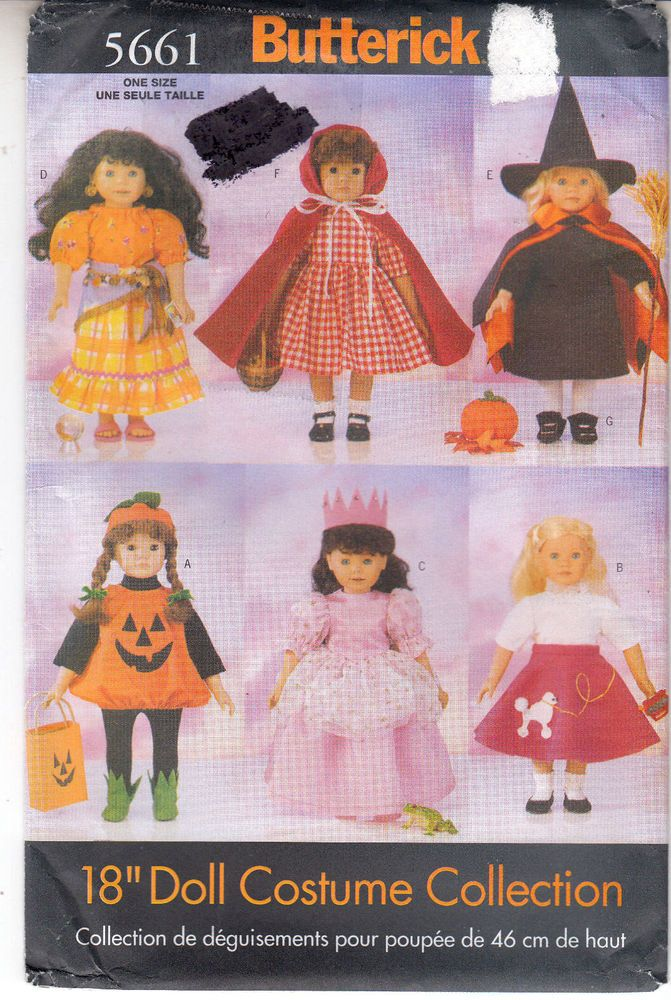 Doll Costumes Gypsy Princess Witch Red Riding Hood Butterick Sewing ...
