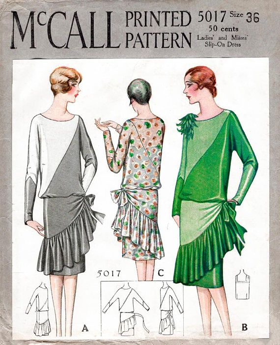 1920s 20s cocktail dress vintage sewing pattern reproduction // wrap ...