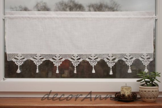 Crochet Curtain Curtain With Crochet Lace By Decoranna On Etsy 35 00 Crochet Curtains Shabby Chic Curtains Chic Linens