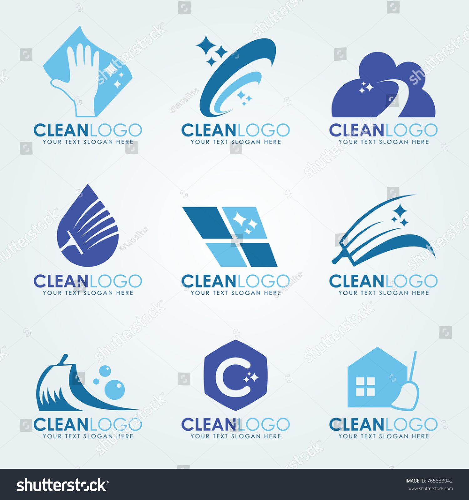 Blue Clean logo with Cleaning gloves, water droplets