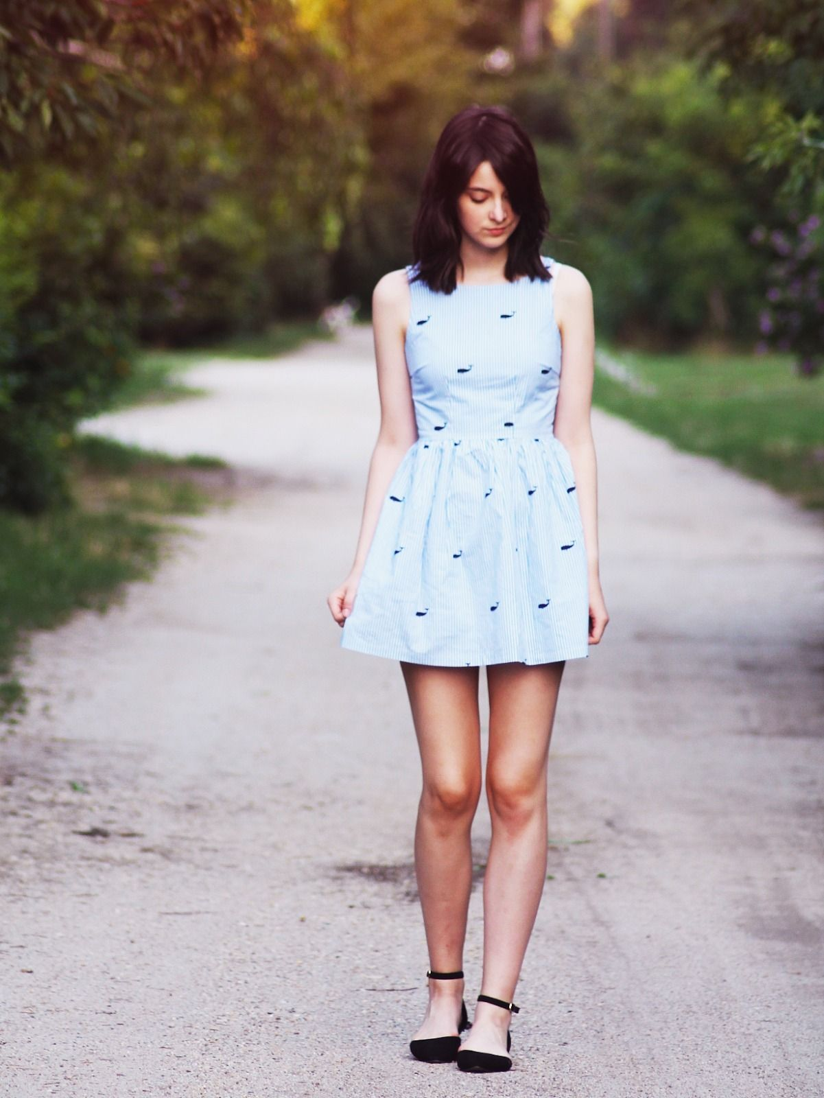Women's Light Blue Print Skater Dress, Black Suede Ballerina Shoes ...