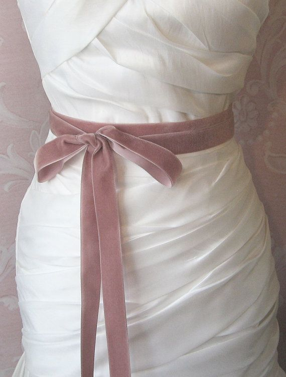 Dusty Rose Velvet Ribbon, 1 Inch Wide, Mauve Ribbon Sash, Dusty ...