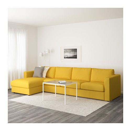 Orrsta Golden Yellow: VIMLE Sectional, 4-seat, With Chaise, Gunnared Beige